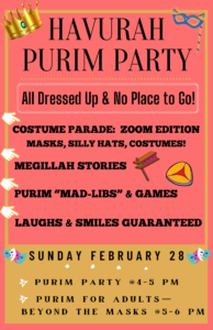 Purim Party: All Dressed Up With No Place To Go! @ Zoom | Merion Station | Pennsylvania | United States